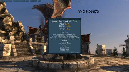 AMD HD6870 Unigine Heaven 3.0 56.9 FPS Default Settings