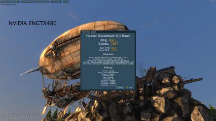 NVIDIA ENGTX480 Unigine Heaven 3.0 63.4 FPS Default Settings